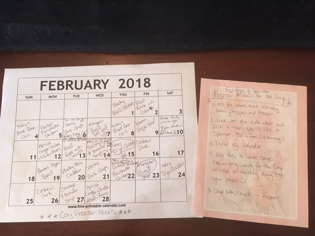 Freezer Meal Calendar for Baby Shower
